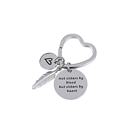 Ring Charm Heart - JINGRAYS Best Friends Keychain- Not Sisters By Blood But Sisters By Heart Keychain