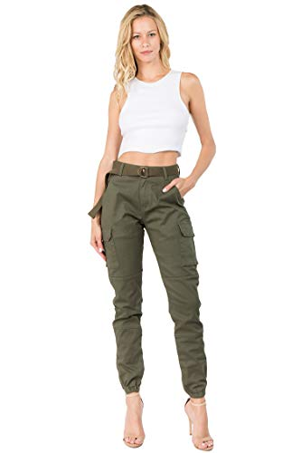 TwiinSisters Women's High Rise Slim Fit Plus Size Belted Jogger Pants - Size Small to 3X