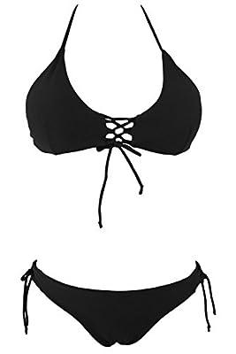 Black Memory Women's Stylish Tie Side Bottom Push Up Padded Top Triangle Bikini Bathing Suit