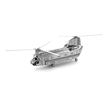Set of 3 Metal Earth 3D Laser Cut Helicopter Models: AH-64 Apache - CH-47 Chinook - UH-1 Huey: Toys & Games