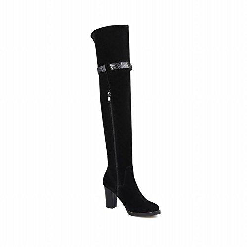 Latasa Womens Fashion Pu Zipper Buckle Strap Block Mid Heel Over the Knee Boots black (Nubuck) aLzacf