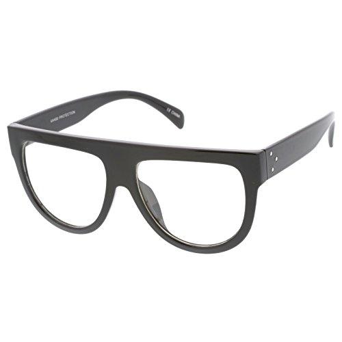 sunglassLA - Oversize Horn Rim Wide Temple Flat Top Clear Lens Aviator Eyeglasses 145mm (Shiny Black / - Rim Glasses Top
