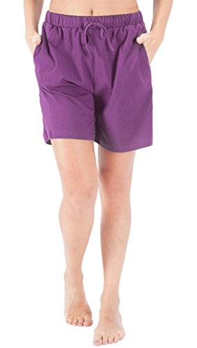 Cotton Pj Shorts (WEWINK CUKOO Women Pajamas Shorts Cotton Sleep Shorts Stretchy Lounge Shorts with Pockets (XL=US 16-18, Purple))