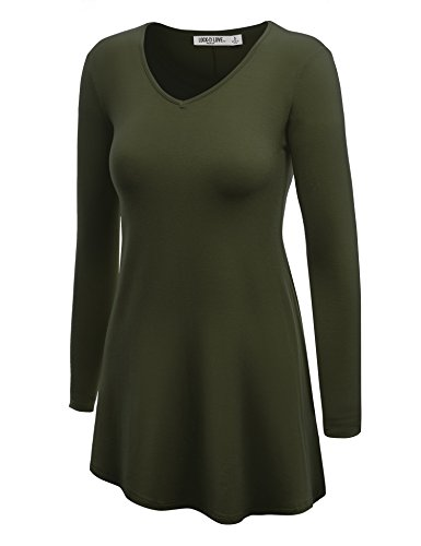 WT768 Womens Long Sleeve V Neck Trapeze Tunic L ()