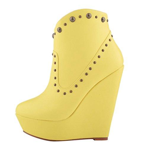 Boots Autunno Moda Stivaletti Corti Wanyang Donna Scarponcini Da Zeppa Pu Giallo Alta qX8qzwg