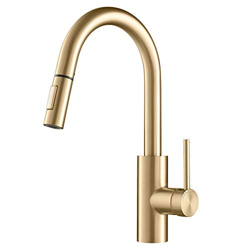 Kraus Oletto Single Handle Pull Down Gooseneck Kitchen Sink Faucet, Brushed Gold