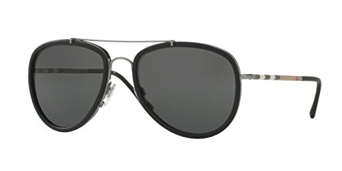 Burberry BE3090Q 100387 Gunmetal / Matte Black BE3090Q Aviator Sunglasses - Q Sunglasses