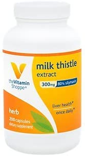 The Vitamin Shoppe Milk Thistle Extract 300mg Capsules, Silymarin Extract for Healthy Liver Support Seed Fruit Once Daily Complex for Detoxification Pathways, and Overall Liver Health 200 Capsules