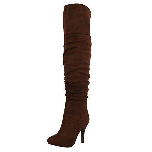 Brown 33 Suede Focus Link High Forever Fashion Boots Sexy Over Knee Womens Pull on Stylish xwAEOa