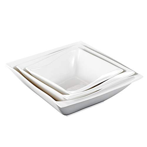 Malacasa Bowls Set for Soup Cereal Dessert Rice Snack, Porcelain 62-oz 9.5 Inch Bowl 38-oz 8.25 Inch Bowl 20-oz 6.75 Inch Bowl, Set of 3, White ()