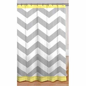 Attractive Gray Yellow White Chevron Fabric Shower Curtain