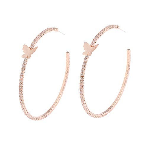 YILIBAO Hoop Earring Round Cubic Zirconia Star Heart and Butterfly for Women and Girls,925 Silver Needles (Butterfly Rose Gold)