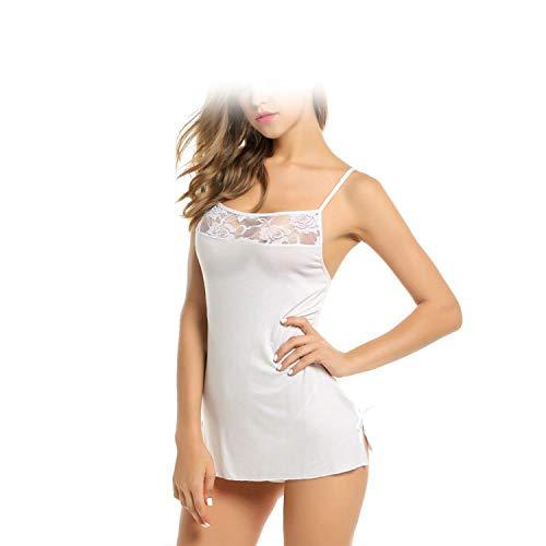 Women Sexy Lace Nightgown Cotton Nightdress Stretch Mini Dress Sleepwear White
