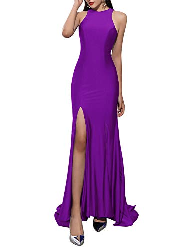 ALAGIRLS Women Mermaid Long Satin Evening Dress Hollow Out Formal Prom Gowns Purple US26Plus