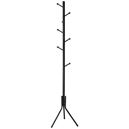 LANGRIA Free Standing Coat Rack with 8 Hooks, Solid Sturdy Metal Coat and Hat Rack Organizer with Tree-Like Design for Hanging Clothes Jackets, Hats, Handbags in Office Home, 17x70 Inches (Black) (Iron Wrought Black Coat Stand)