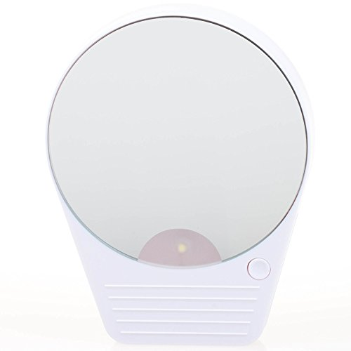 Suction Cup Tow Mirror - KI Store 3.6 Inches 10x Magnification LED Makeup Mirror with Light Perfect for Office Environment, Travelling, and Hangout at Night (White)