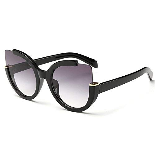 Supertrip Womens Fashion Oversized Round Square Plastic Vintage Cut-Out Flash Mirror Lens Cat Eye Sunglasses Color Black/Gray