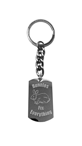 Cheek Bunny - Bunnies Fix Everything - Metal Ring Key Chain Keychain