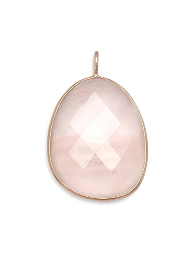 Rose Quartz Freeform Shape Rose Gold-plated Sterling Silver, Pendant Only