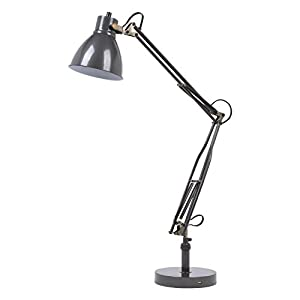 Lumesty Dallas Metal Desk Lamp, Graphite Finish, Antique Brass Accent, Fast Charging 2.1A USB Port, Twist On/Off Switch, 30070