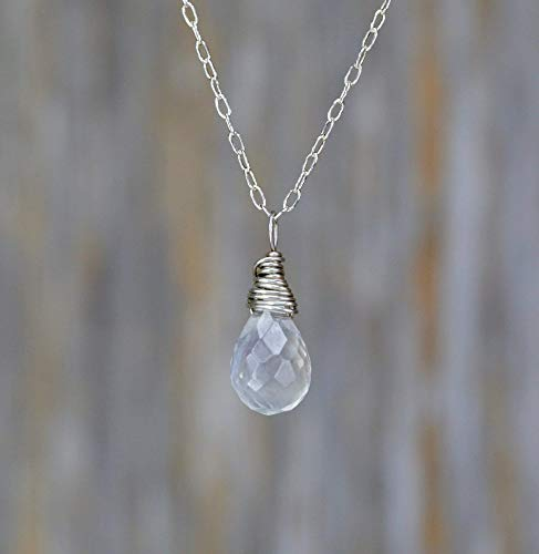 Rainbow Moonstone Gemstone Teardrop Pendant Necklace Sterling Silver June Birthstone
