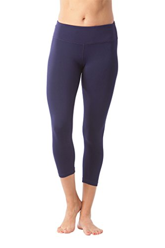 Navy Activewear (90 Degree By Reflex Yoga Capris - Yoga Capris for Women - Hidden Pocket - Martime Navy - Medium)