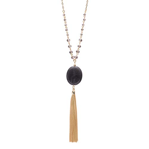 (CONCISE ROYAL Gray Quartz and Tassel Pendant Long Necklaces for Women,Handmade Crystal Beaded Long Y Necklace (32+3