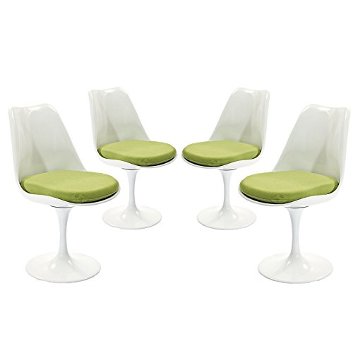 Modway Lippa Modern Dining Side Chairs With Fabric Cushion in Green – Set of 4 For Sale