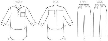 12/Misses//Herren//Jungen//Gilrs Top//Nachthemd und Hosen Schnittmuster McCall s Patterns 7299/Kinder Gr/ö/ßen 3 Mehrfarbig