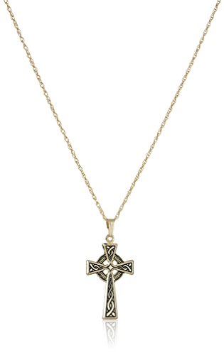 14k Antique Cross - 14k Gold-Filled Antique Finish Celtic Cross Pendant Necklace, 18