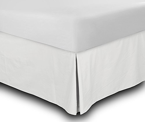 Utopia Bedding Cotton Sateen Bed-Skirt (Twin, White) - 100% Finest Quality Long Staple Fiber - Durable, Comfortable and Abrasion Resistant, Quadruple Pleated, Cotton Blended Platform