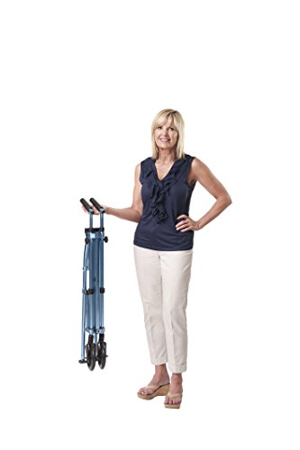 Able Life Space Saver Walker - Lightweight Folding & Height Adjustable Adult Travel Walker for Seniors + Fixed Wheels & Rear Glides - Cobalt Blue by Able Life (Image #2)