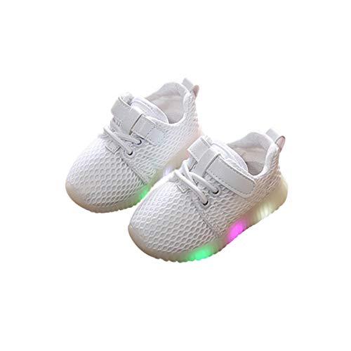 DEBAIJIA Toddler Kids Mesh Light Up Trainers Baby Girls Boy Running LED Luminous Shoes Flashing Sneakers Boots Anti-Slip Unisex Halloween Suitable for 1-6 Years Children White -