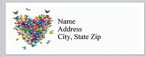 150 Personalized Return Address Labels Primitive Country Heart of Butterflies (BX 831)