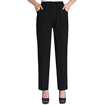 Soojun Womens Summer Elastic Waist Comfy Stretch Pull On Pants at Women's Clothing store