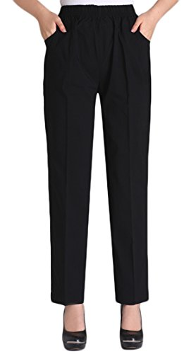 Soojun Womens Summer Elastic Waist Comfy Stretch Pull On Pants, Black, Large