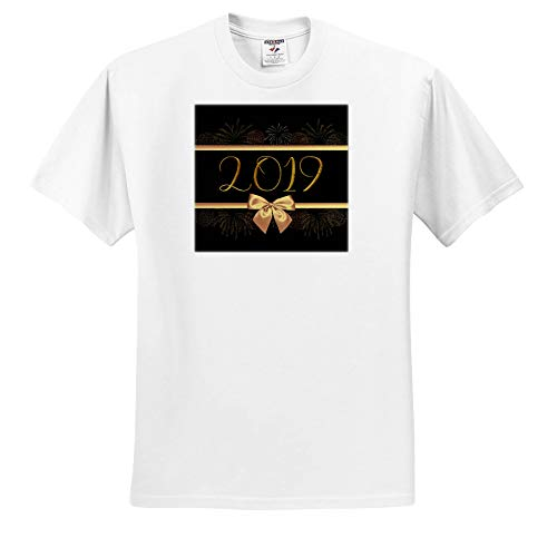 Beverly Turner New Years Design - Image of 2019, Gold Ribbons, Fireworks, and Bow Look, Black Background - T-Shirts - Adult T-Shirt 2XL (ts_300606_5)