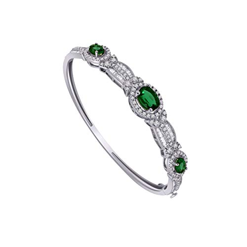 (10K White Gold Multi-Shape Gemstone & 1.61 Ct Diamond 3-Stone Style Halo Bangle Bracelet (emerald & real diamond))