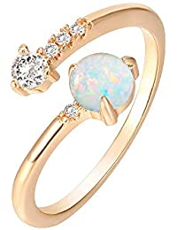 14K Gold Plated Adjustable Created Opal Rings | Stacking Rings | Gold Rings for Women