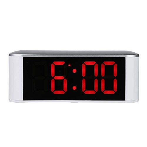 ock,Miya Mirror Alarm Clock with Snooze Dimmer Function Touch Wake-up Clock 12/24H Temperature ℃/℉ LED Alarm Clock Desk Clock Bedroom Office & Travel for Heavy Sleepers - Red ()
