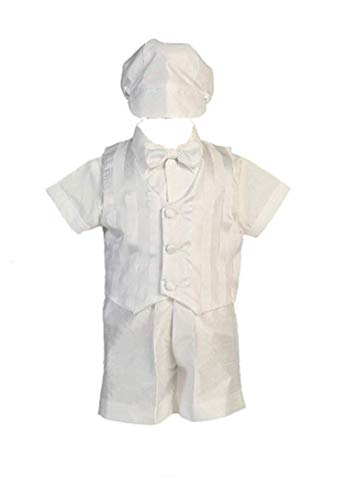 (Shantung Striped Organza Vest with Shantung Short Baby Boy Christening Baptism Special Occasion Newborn Romper Outfit with Matching Hat - L (12-18 Month, 18-22)