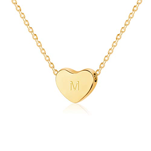 SANXIULY Initial Letter Heart Necklace:14K Gold Plated for Women and Girls Letter M ()