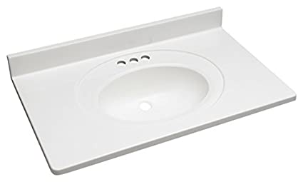 Dekor Sinks VT37S4 OW 37u0026quot; By 22u0026quot; Vanity Top With Integrated Oval  Sink