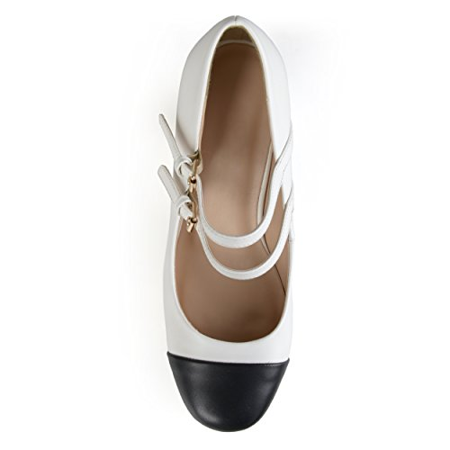 Journee Collectie Dames Tweekleurige Pet Teen Mary Jane Pump White