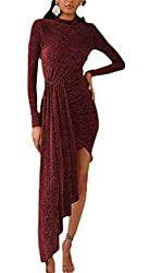 O-Neck Sequin Metallic Ruched Long Sleeve Dress