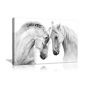 Two Horse Wall Art of Animal Prints on Canvas Black and White Pictures for Living Room Decor Wall Artwork HD Prints for…