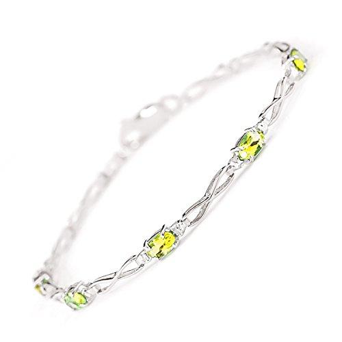 QP joailliers naturel & Diamant Peridot Bracelet en or blanc 9carats, 1,15CT Coupe ovale-3904W
