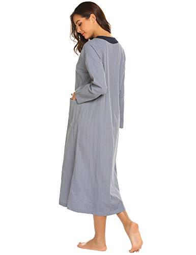 Ekouaer Women s Long Robe Zipper- Front Long Sleeve Loungewear with 2  Pockets Long Bathrobe Nightshirts a4aa749d0