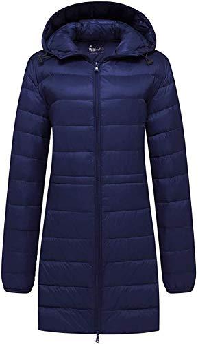 Wantdo Women's Packable Down Jacket Hooded Puffer Jacket Winter Long Coat