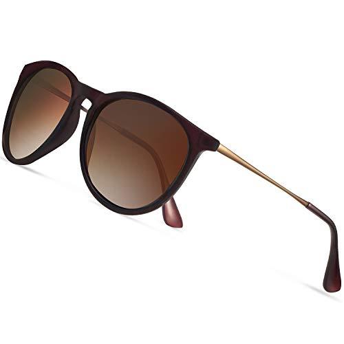 - Sunglasses for Women Polarized uv Protection Wearpro Fashion glasses Vintage Round Classic Retro Aviator Mirrored Sun glasses (brown)